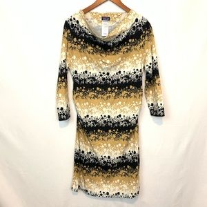 Patagonia | Women's Floral Tan Black Dress Sz L